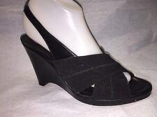 Donald J Pliner Black Micro Fiber & Leather Wedge Heel Sandals Size 8 1/2 M