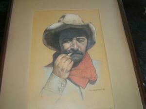 "Original Pastel Cowboy Portrait by Tim Hampton ""After the Hold up"" Framed 25x19"