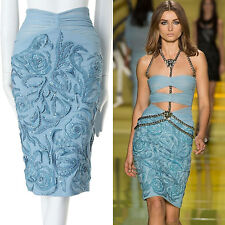 VERSACE SS14 light blue floral leather pvc strass crystal embellished skirt IT38