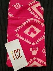 LuLaRoe TC2 Disney Minnie Mouse Dark Pink Aztec Leggings- New!