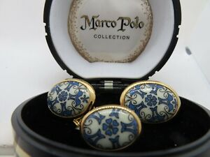 Vintage Marco Polo Collection Blue And White Cufflinks & Tie Tack With Case