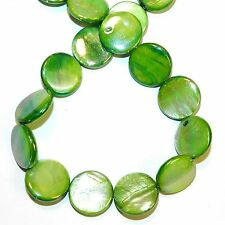 MP2545L Green AB 20mm Flat Round Coin Mother of Pearl Shell Beads 14""