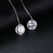 6.4ct Gorgeous Dazzling Cubic Zirconia Dangle Earrings Solid 925 Silver 53mm