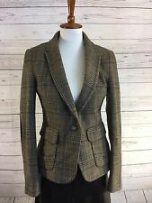 Women Zara Basic Casual Jacket Brown  With Patches Size M Blazer