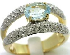 Aquamarine & 122 Diamond 9ct 9K Solid Gold Ring - SZ M/6.5 - 30 Day Returns