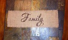 Primitive Natural Jute Burlap Banner Sign Family Candle Mat Centerpiece Wedding