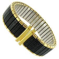 16-19mm Speidel Twist-O-Flex Gold Tone Black Coating Romunda Watch Band 1068/32L