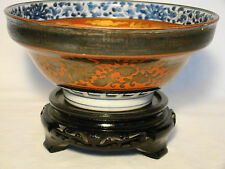 "Signed Edo Eiraku Porcelain Dragon & Phoenix Bowl 6 1/2"" dia 19th century"