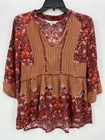 Anthropologie Ranna Gill Womens XS Top Rust Pink Floral Peplum 3/4 Sleeve Shirt
