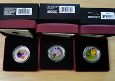 From Canada  -  3 x Venetian Glass Fine Silver Coins  - Bee - Butterfly - Frog