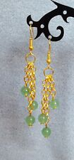 Green aventurine gold plated drop earrings