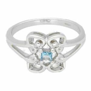 9Ct White Gold Princess Cut Blue Topaz Fancy Solitaire Ring (Size N) 3x3mm Head