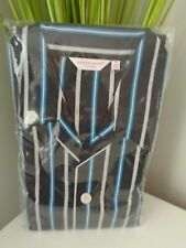 Derek Rose Pyjamas Navy Blue White Striped Cotton Pyjama Set size XL