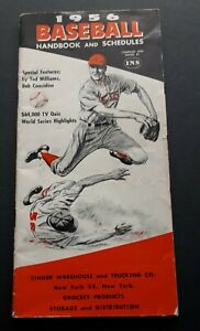 1956 Baseball Handbook and Schedules Featuring Ted Williams Original Copy