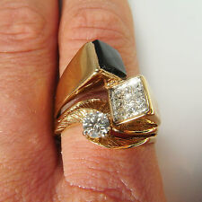 Modernist Diamond Onyx Ring 14K Gold Unisex Unique Engagement Wedding Band Mens