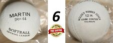 "6 - Martin Srh-44, 12"", Rubber Cover Cork Center Softballs - New - Ships Free"