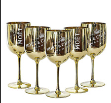 Moet Chandon Gold Acrylic Plastic Champagne Goblet Cup x 10New