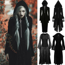 Women Goth Coat Vintage Medieval Long Cardigan Dress Trench Long Hooded Overcoat