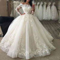 Off the Shoulder Bridal Ball Gown Lace Applique Long Sleeves Wedding Dresses