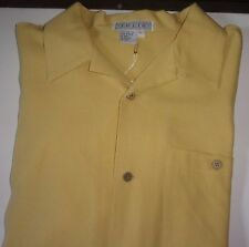 TULIO MEN'S 100% PURE SILK YELLOW LARGE BUTTON FRONT SHIRT NWT