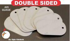 White Aluminum Dye Sublimation Dog Tag Blanks -  DOUBLE SIDED - 100 PIECE LOT