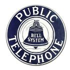 """Bell System Public Telephone Reproduction 11.75"""" Circle Aluminum Sign"""