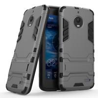 For Motorola Moto E4 - Tough Shockproof Armor Hard Hybrid Phone Case Cover Stand