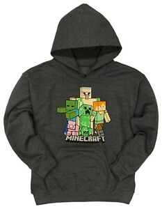 Minecraft Boys' Bobble Mobbin Pullover Hoodie with Kangaroo Pockets Sizes XS-XL