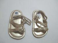 INFANT GIRLS BABY GAP GOLD ROMAN SANDALS SIZE 3-6 MONTHS