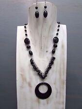 "16"" Onyx Cluster Necklace Round TearDrop Bead Onyx Pendant Handmade Free Earring"