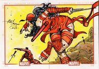 Marvel 75th Anniversary ELEKTRA / DAREDEVIL sketch card puzzle by Alex Magno