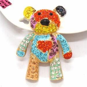 Hot Bear Bling Crystal Multicolor Enamel Betsey Johnson Charm Brooch Pin Gifts