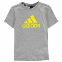 adidas Kids Boys T Shirt Junior Short Sleeve Performance Tee Top Crew Neck