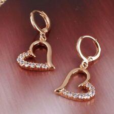 18 K Yellow Gold Filled White Sapphire Heart Shape Hoop Earrings