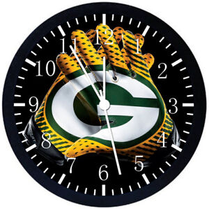 Green Bay Packers Black Frame Wall Clock Nice For Decor or Gifts F123