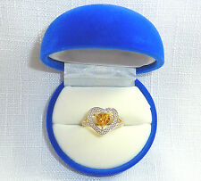 0.79ct Citrine & Diamond Solid 10k Two-Tone Gold Heart Ring US (6)  AU (M)