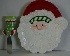 Fitz and Floyd Santa Snack Plate with Spreader Knife 2007 Stocking Stuffer