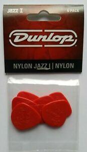 PACK OF 6 DUNLOP NYLON JAZZ 1 PLECTRUMS PICKS 47P1N Free Shipping UK