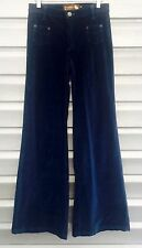 DITTOS Teal Blue High Waist Retro Flare Velour Bell Bottom Pants