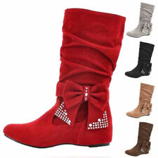 Patternless Plus Size Faux Suede Boots for Women