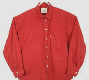 Levis Red Tab, Men's Large Denim Button shirt Red