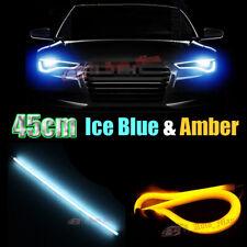 2x 45cm Ice Blue&Amber Switchback Tube Flexible LED Strip Daytime Running Light