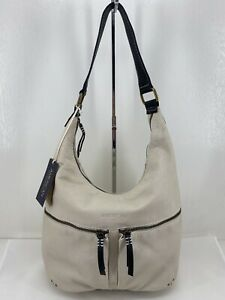 American Leather Co. Hanover Hobo Shoulder Bag Stone w/ Black Smooth $175 NTW