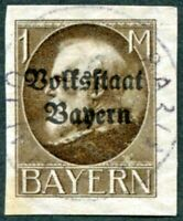 BAVARIA 1920 1m grey-brown SG209B CV £38.00 used NG IMPERF King Ludwig III a1