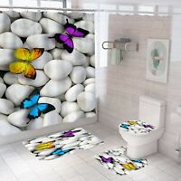 Butterfly Shower Curtain Bathroom Rug Set Bath Mat Non-Slip Toilet Lid Cover