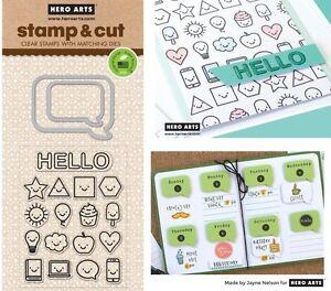 Hero Arts Speech Bubbles Stamps & Dies - Emoticons, Happy Faces, Hello, Emojis