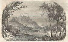 A5471 Borgholm - Veduta - Xilografia - Stampa Antica del 1850 - Engraving