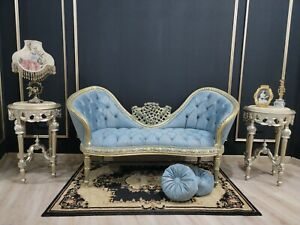 French Style Settee/ Antique Gold Leaf Finish/ Hand Carved Wood/ Tufted Blue