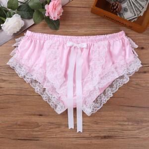 Sexy Men Briefs Lingerie Frilly Lace Sissy Panties Underwear Crossdress Knickers