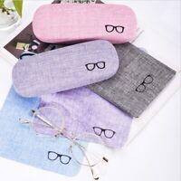 Sunglasse Storage Boxes Portable Hard Linen Eye Glasses Protector Case Eyewear